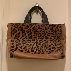 French connection cheetah leather bag